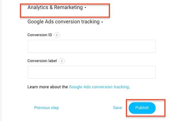 Analytics & Remarketing Settings