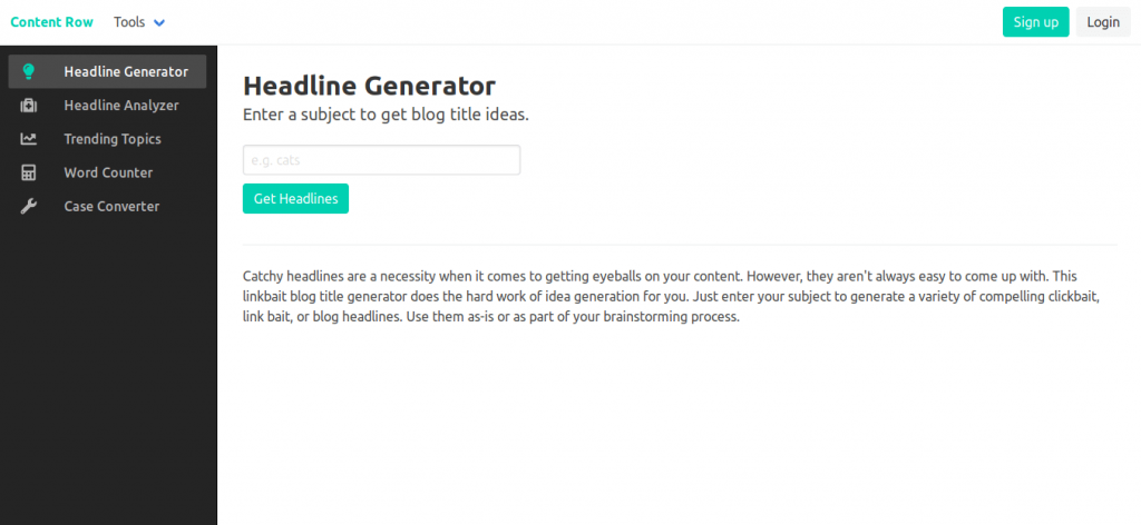 Headline Generator by Content Row